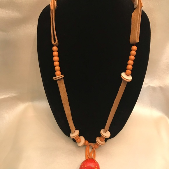 Bohemian leather necklace.